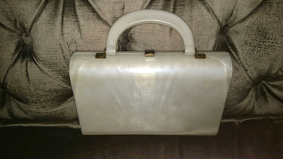 1950's Bakelite white vintage boxed purse