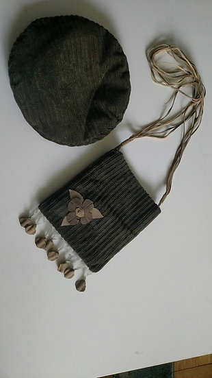 Courderoy beret with matching bag 2pcs set made in Italy