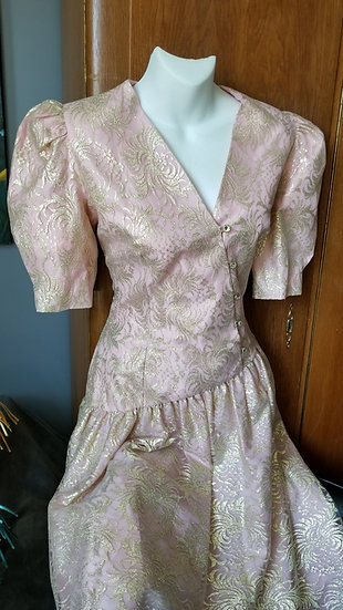 Halston vintage pink princess dress with gold lace
