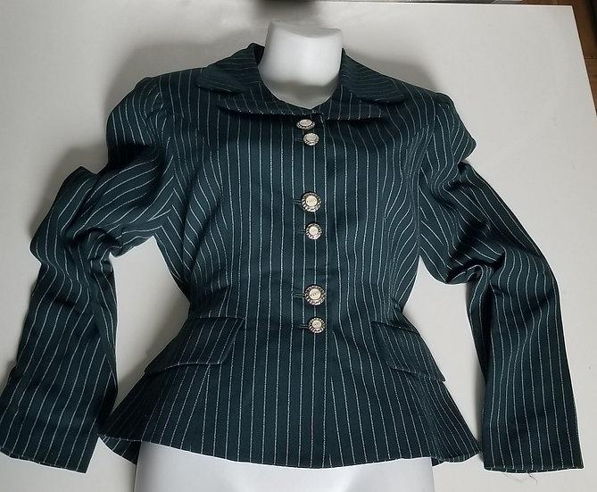 Vintage Green 1940's pinstriped blazer
