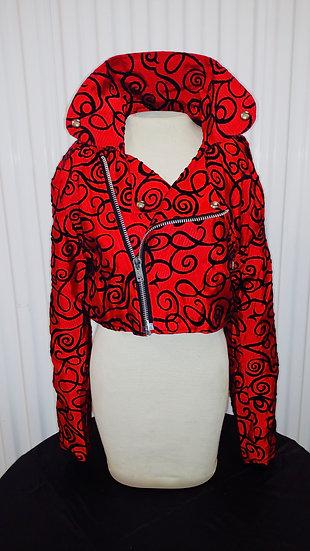 Motorcycle Jacket in Red w blk velvet detail