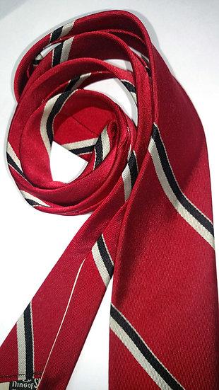 men's vintage skinny silk red striped tie