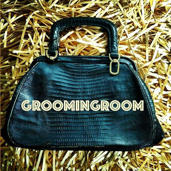 Rendl black distressed lizard skin 1950s  handbag