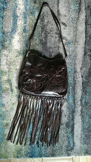 1990's dk chocolate boho fringe shoulder bag