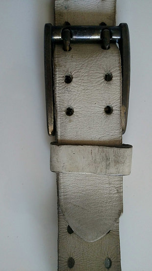 Weathered white 1980's belt with brass buckle