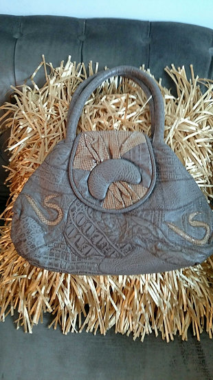 Distressed collaged leather 80's handbag