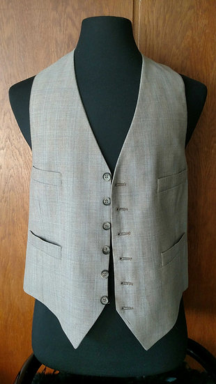 Wool Gabardine plaid vest made in italy