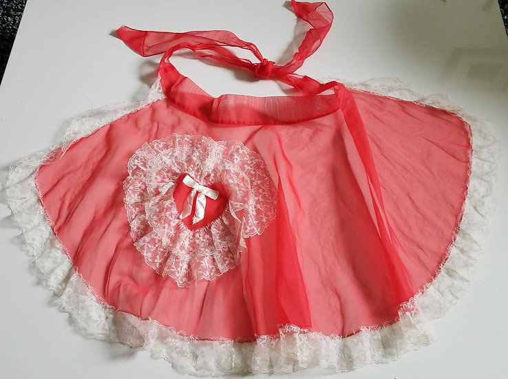 50s red heart sheer apron with lace edges