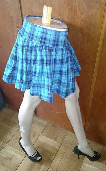 Pink label plaid blue mini skirt