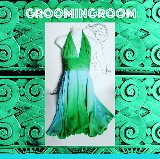 *Silk halter dress gradient Green Blue