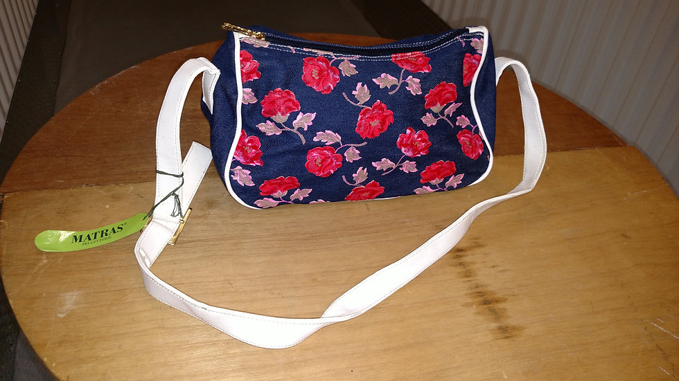 90's denim italian cross body bag w floral design