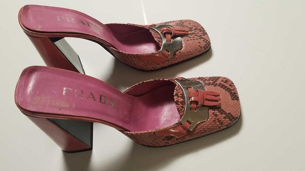 Prada Pink Platform snakeskin mules 7 1/2