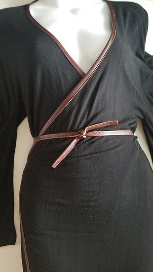 Kimono Style black Dress with pleather trim