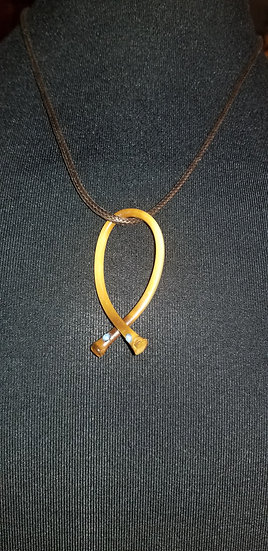 Bamboo wishbone necklace with light blue crystals