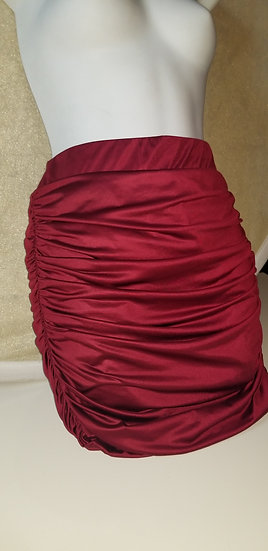 Mini Skirt rouched in cranberry polyester