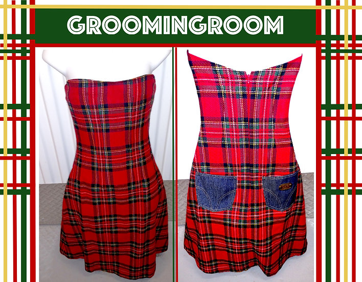 Dolce-and-Gabbana-Steampunk-red-plaid-corseted-dress-with-denim-pockets-size-24