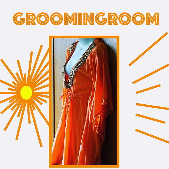 *Orange caftan with brass tone embellishments