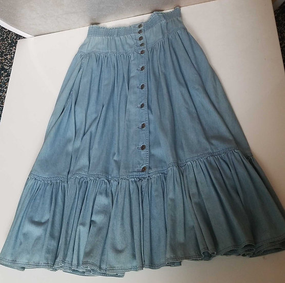 Denim vintage peasant skirt  by Liz wear in light blue with front facing buttons