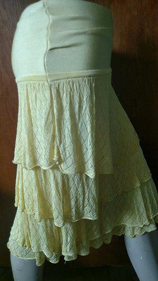 *Bebe tiered knit soft yellow skirt medium