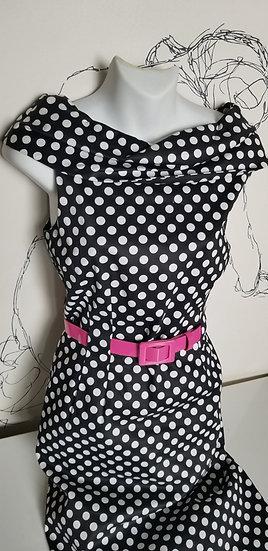 Tahari 50's swing inspired fitted polka dot dress