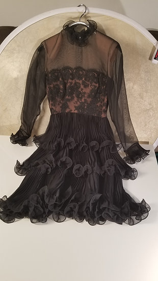 Travilla Black chiffon ruffle dress size 4