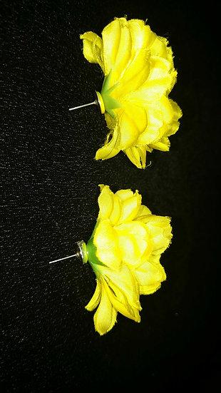 Yellow flower earrings 1980's