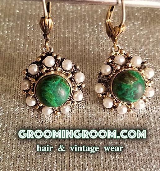 70's Isreali Silver and green Malachite drop earrings