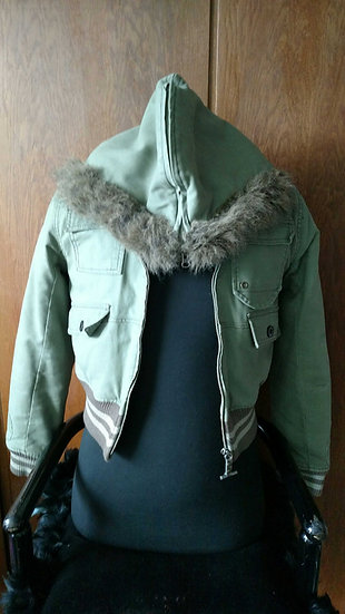 GStar hooded army green lined chopper bomber jacket