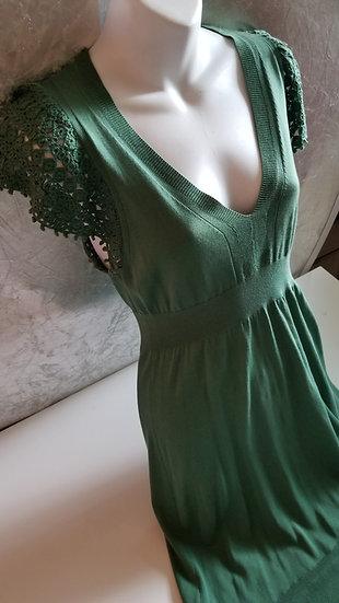 BCBG MaxAzria Safari Green cotton lightweight  knit dress