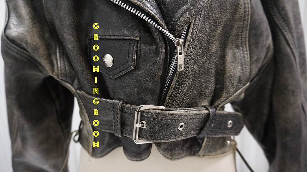 motorcycle jacket distressed made in France1990's