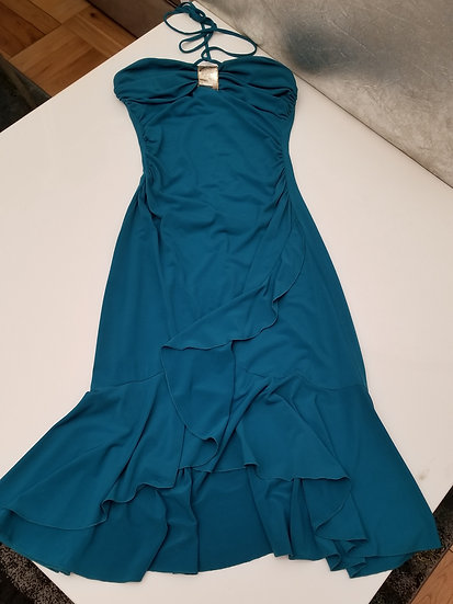 1980s halter disco dance teal colored dress