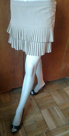 BCBG Maxazria tiered pleated skirt in sandy khaki made in USA