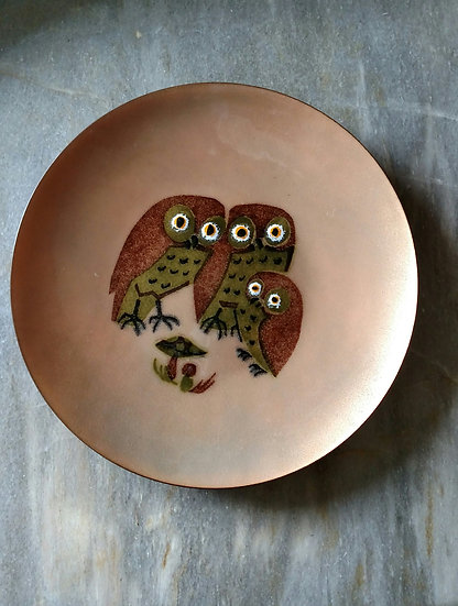 Handcrafted 1960's copper  enamel owl plate by AnneMarie Davidson