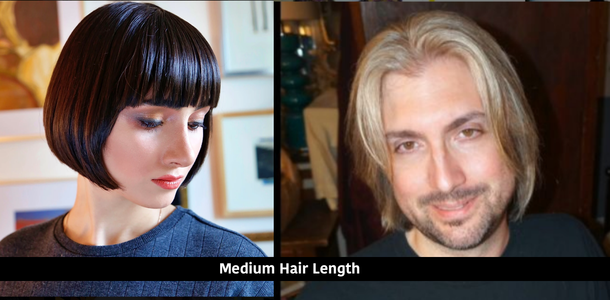 medium length womens + mens hair