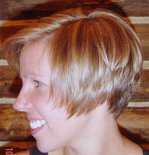 Women's Short razored and graduated haircut with highlights