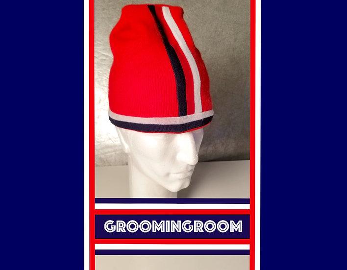90's knit red striped ski hat