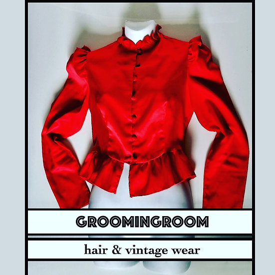Ruffled Red blouse by  Pearlette  80's vintage