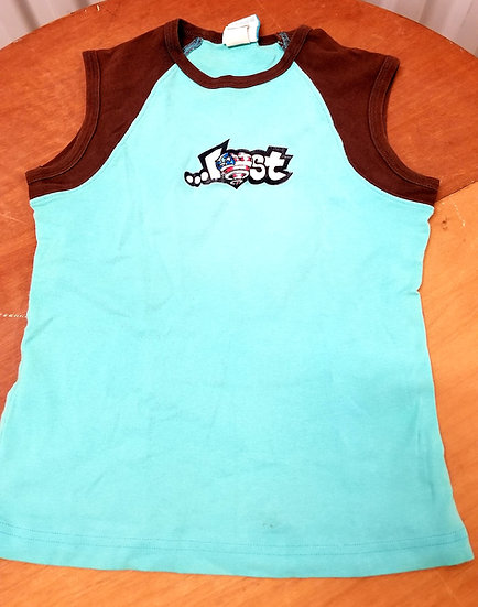 90 Vintage Lost Girl Surfer T Shirt in Turquoise and brown cotton Size Medium