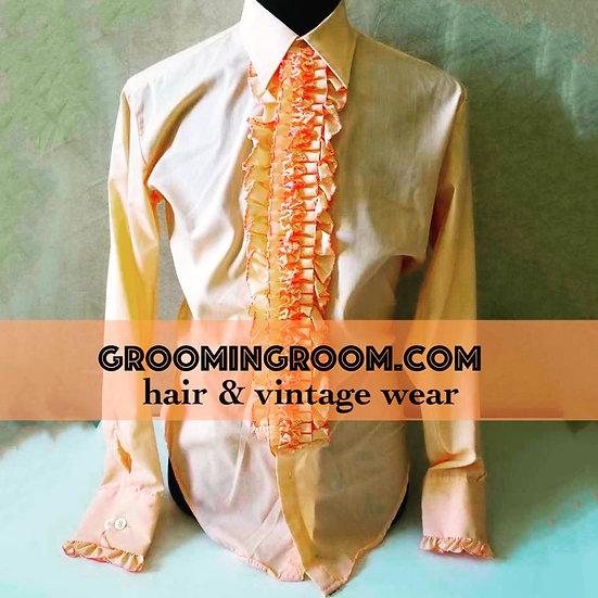 Ruffled vintage peach tuxedo shirt