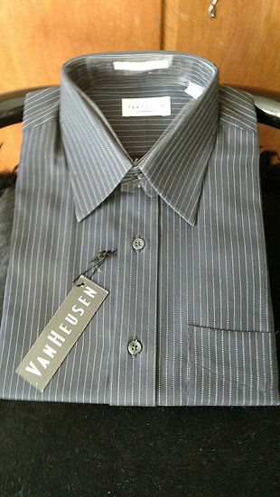 Van Heusen mens cotton shirt blk pinstripes
