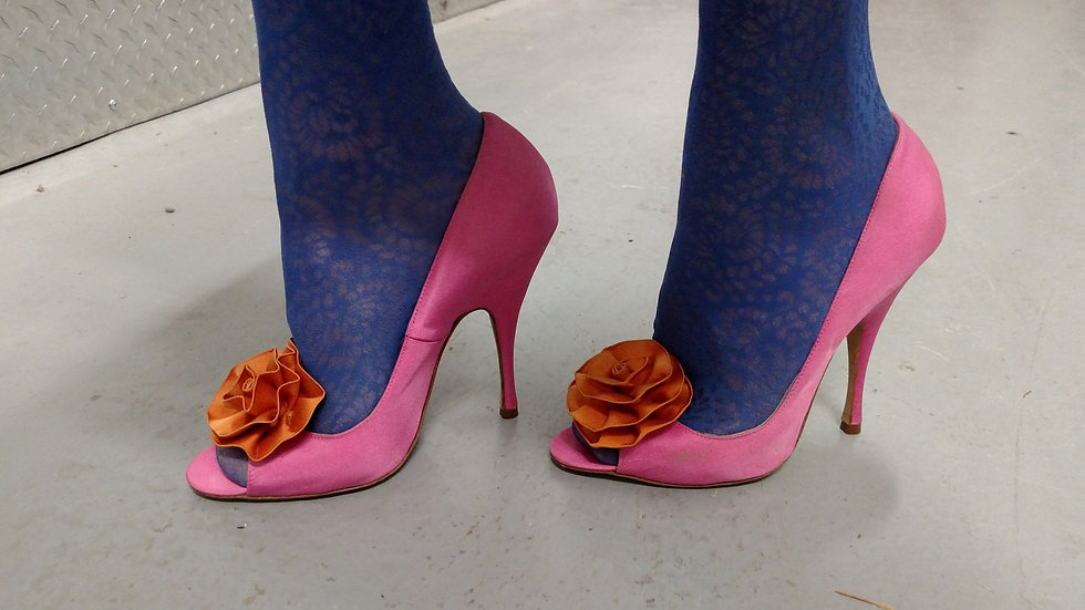Brian Atwood Hot pink silk pumps with tangerine flower