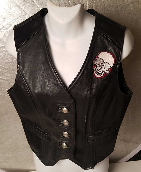"Vest Black leather 1980s ""The Pit"" st Mark's place by Wicker Walrus leathers"