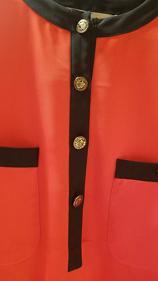 Liz Claiborne 80s vintage Red blouse with gold buttons + black trim bands