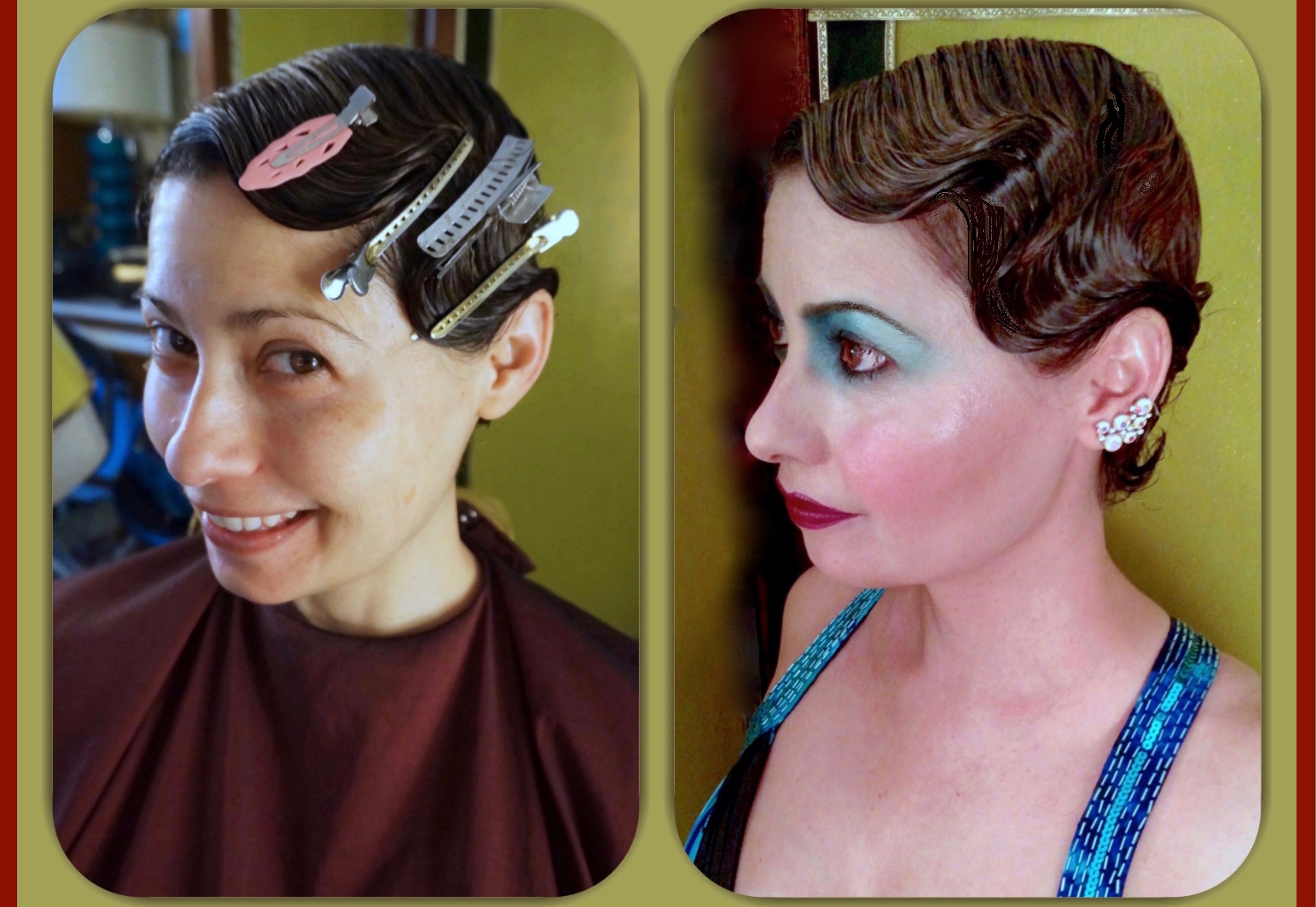 Retro hairstyling & makeup