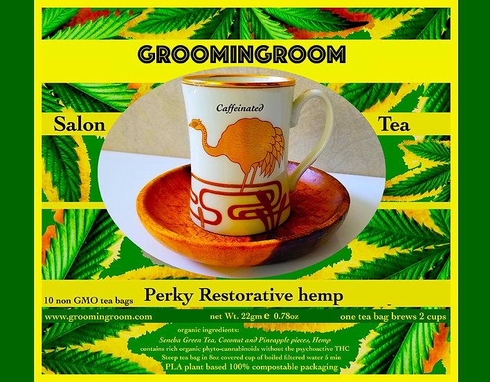 Green Sencha tea enriched w/organic hemp coconut pineapple Perky Caffeinated
