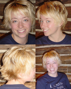Short textured haircut and double processcolor