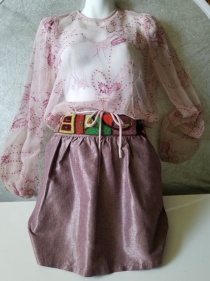 Sheer 80s pink organza blouse with sparkles and etched flower designs