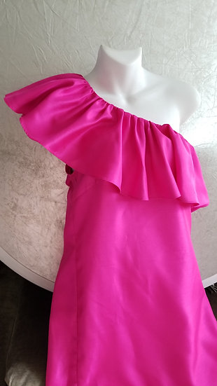 Hot pink assymetrical ruffle shift dress
