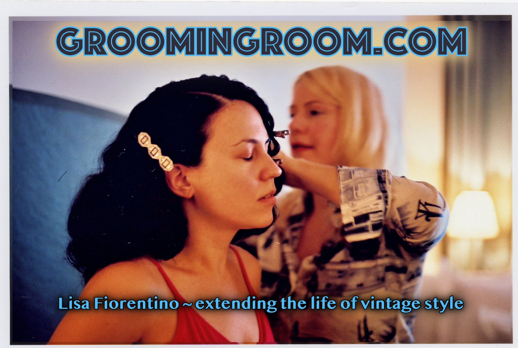 Lisa Fiorentino working on location vintage hairstyling