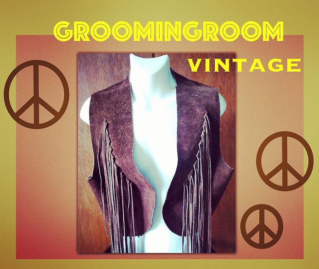 Vest 70s brown suede Fringe original hippie vest